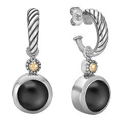 Black Agate, Sterling Silver and 18k Yellow Gold Earrings