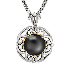 Sterling Silver, Black Agate and 18k Yellow Gold Circle Pendant (18 in.)
