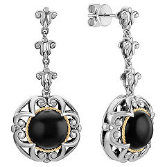Sterling Silver, Black Agate, and 18k Yellow Gold Circle Earrings