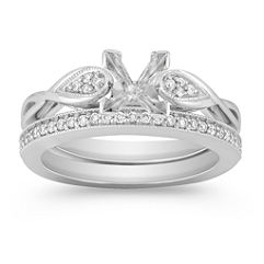 Swirl Diamond Wedding Set with Pave Setting for Her