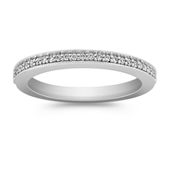 Classic Diamond Wedding Band with Pavé Setting
