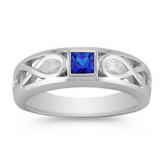 Princess Cut Sapphire Ring for Him