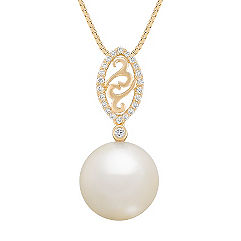 12mm Cultured South Sea Pearl and Round Diamond Pendant (18 in.)