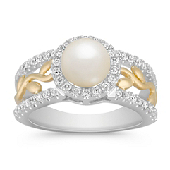 6.5mm Cultured Akoya Pearl and Round Diamond Ring in Two-Tone Gold