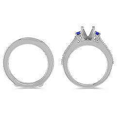 Round Sapphire and Diamond Wedding Set for Her