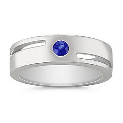 Round Sapphire Ring for Him
