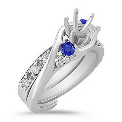 Swirl Round Sapphire and Diamond Wedding Set for Her