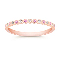 Round Pink Sapphire and Diamond Wedding Band in 14k Rose Gold