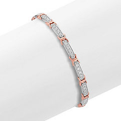 Round Diamond Bracelet in 14k White and Rose Gold (7.25)