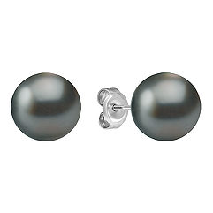 9mm Cultured Tahitian Pearl Solitaire Earrings