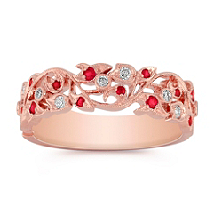 Ruby and Diamond Ring in 14k Rose Gold