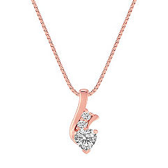 Heart Shaped and Round White Sapphire Pendant in 14k Rose Gold (18 in.)