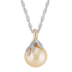 15mm Cultured Golden South Sea Pearl and Diamond Pendant in Two-Tone Gold (18 in.)
