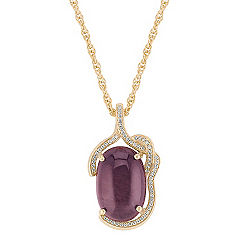 Polished Rough Ruby and Round Diamond Pendant (18 in.)