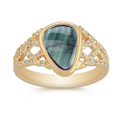 Freeform Blue Green Sapphire and Round Diamond Ring