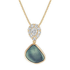 Freeform Blue Green Sapphire, Pear Shaped and Round Diamond Pendant (18 in.)