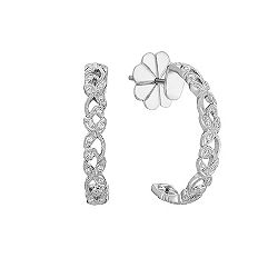 Hoop Earrings with Round Diamonds
