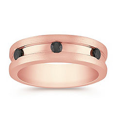 Round Black Sapphire Ring in Rose Gold with Channel Setting