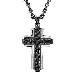 Black Stainless Steel Cross Necklace (30 in.)