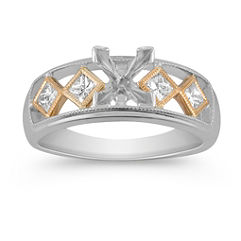 Princess Cut Diamond Engagment Ring in Two-Tone Gold with Bezel Setting for Her