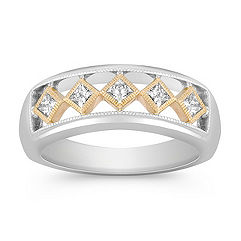 Bezel Set Princess Cut Diamond Ring in Two-Tone Gold for Him