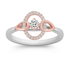 Diamond Fashion Ring in White and Rose Gold
