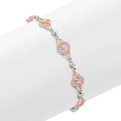 Round Diamond Bracelet in 14k Rose and White Gold (7.25 in.)