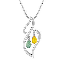 Briolette Green and Yellow Sapphire Pendant in Sterling Silver (18 in.)