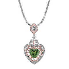 Heart Shaped Green Sapphire and Calla Cut and Round Diamond Pendant in Two-Tone Gold (22 in.)