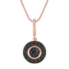 Black Sapphire Circle Pendant in 14k Rose Gold (18 in.)