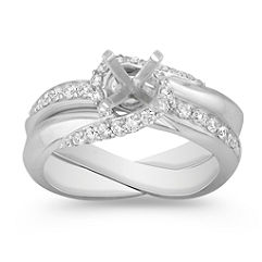 Swirl Diamond Wedding Set with Pavé Setting