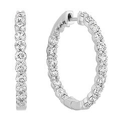 Double Row Round Diamond Hoop Earrings