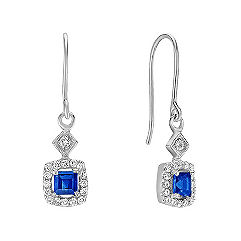 Square Cut Sapphire and Round Diamond Dangle Earrings