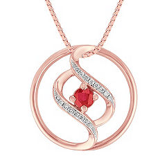 Ruby and Diamond Circle Pendant in Rose Gold (18 in.)