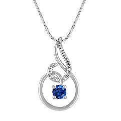 Sapphire and Diamond Swirl Pendant (18 in.)