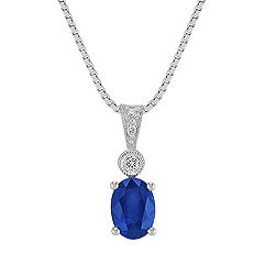 Oval Sapphire and Round Diamond Pendant (18 in.)