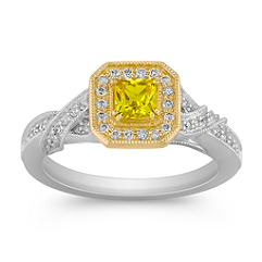 Princess Cut Yellow Sapphire and Round Diamond Ring in Two-Tone Gold