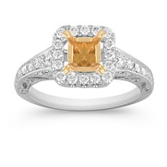 Halo Pavé Set Diamond Engagagement Ring in Two-Tone Gold