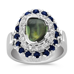 Freeform Blue Sapphire, Round Midnight Blue Sapphire, and Round Diamond Ring