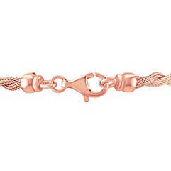 Rose Sterling Silver Rope Bracelet (7.5)