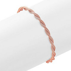 Rose Sterling Silver Rope Bracelet (7.5 in.)