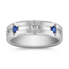 Channel Set Diamond and Sapphire Ring