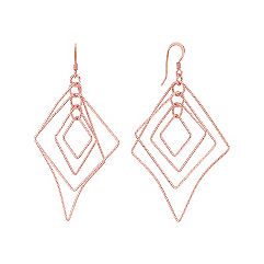 Rose Sterling Silver Geometric Dangle Earrings