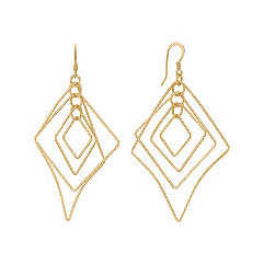 Yellow Sterling Silver Dangle Geometric Earrings
