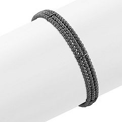 Black Sterling Silver Flex Cuff Bracelet (7 in.)