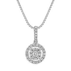 Circle Diamond Cluster Pendant (18 in.)