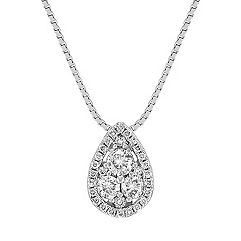 Pear Shaped Round Diamond Cluster Pendant (18 in.)