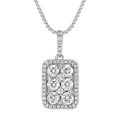 Rectangle Diamond Cluster Pendant (18 in.)