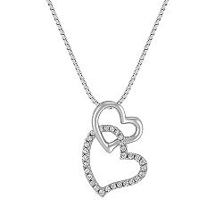 Diamond Double Heart Dangle Pendant (18 in.)