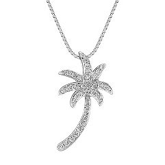 Diamond Palm Tree Pendant (18 in.)